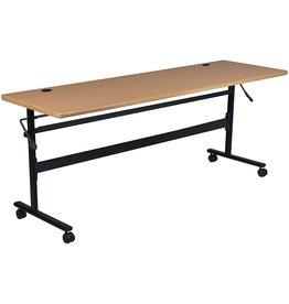 MooreCo MooreCo Essentials Flipper Training Table 60x24 Teak Top Black Base