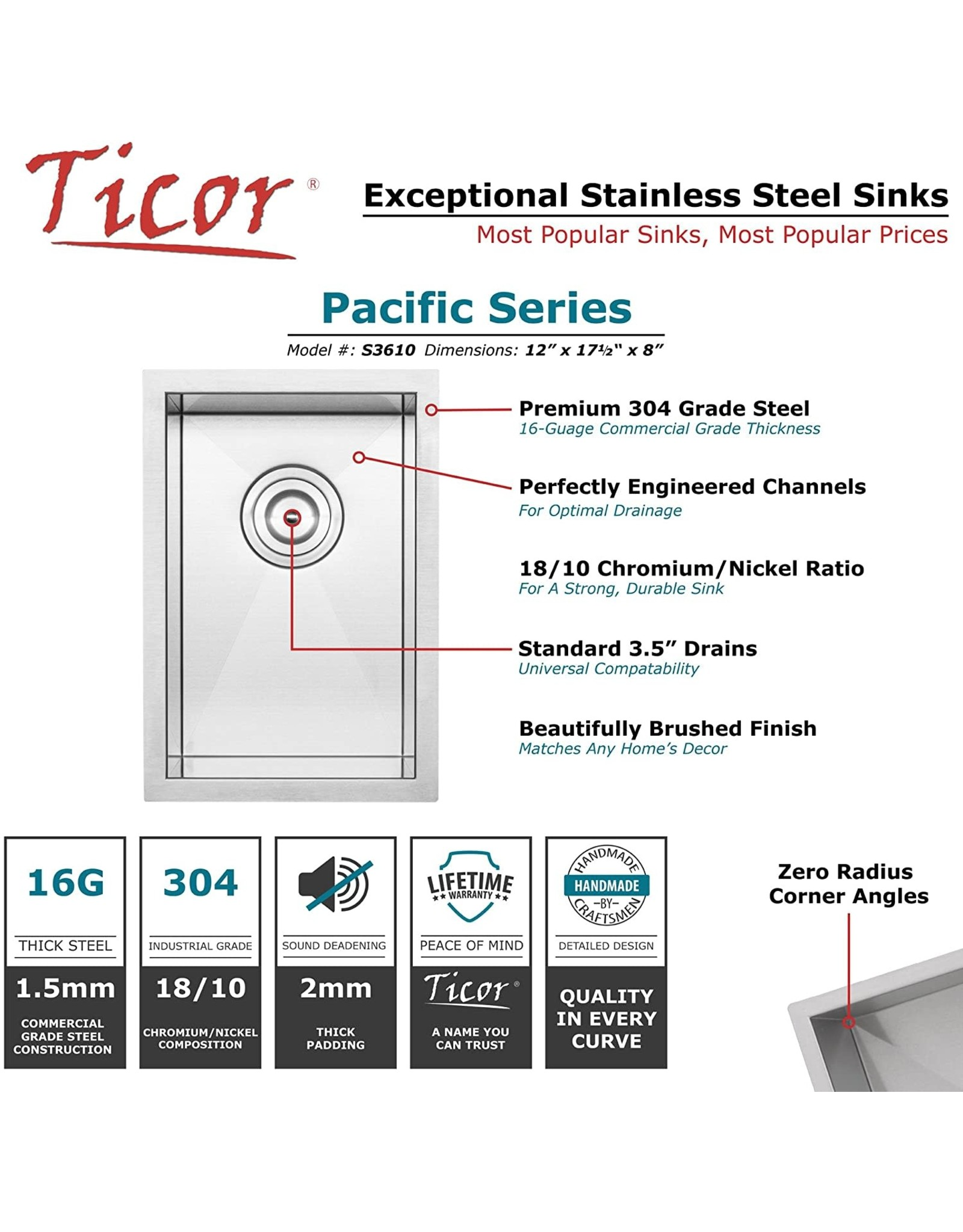 """Ticor 12"""" Ticor S3610 Pacific Series 16-Gauge Undermount Stainless Steel Single Bowl Zero Radius Square Kitchen Bar Sink with Accessories"""