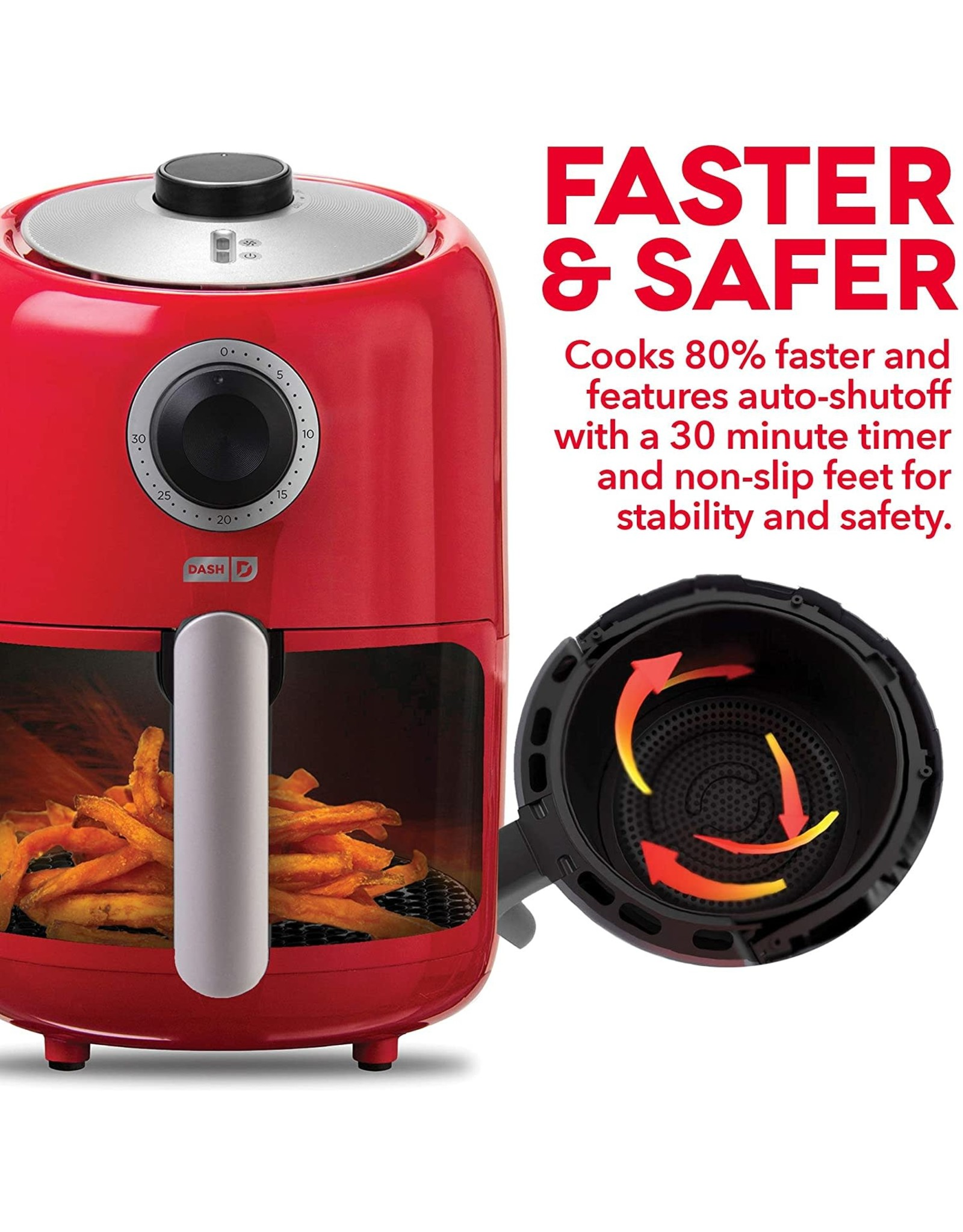 DASH Dash DCAF150GBRD02 Compact Air Fryer Oven Cooker with Temperature Control, Non Stick Fry Basket, Recipe Guide + Auto Shut off Feature, 2qt, Red