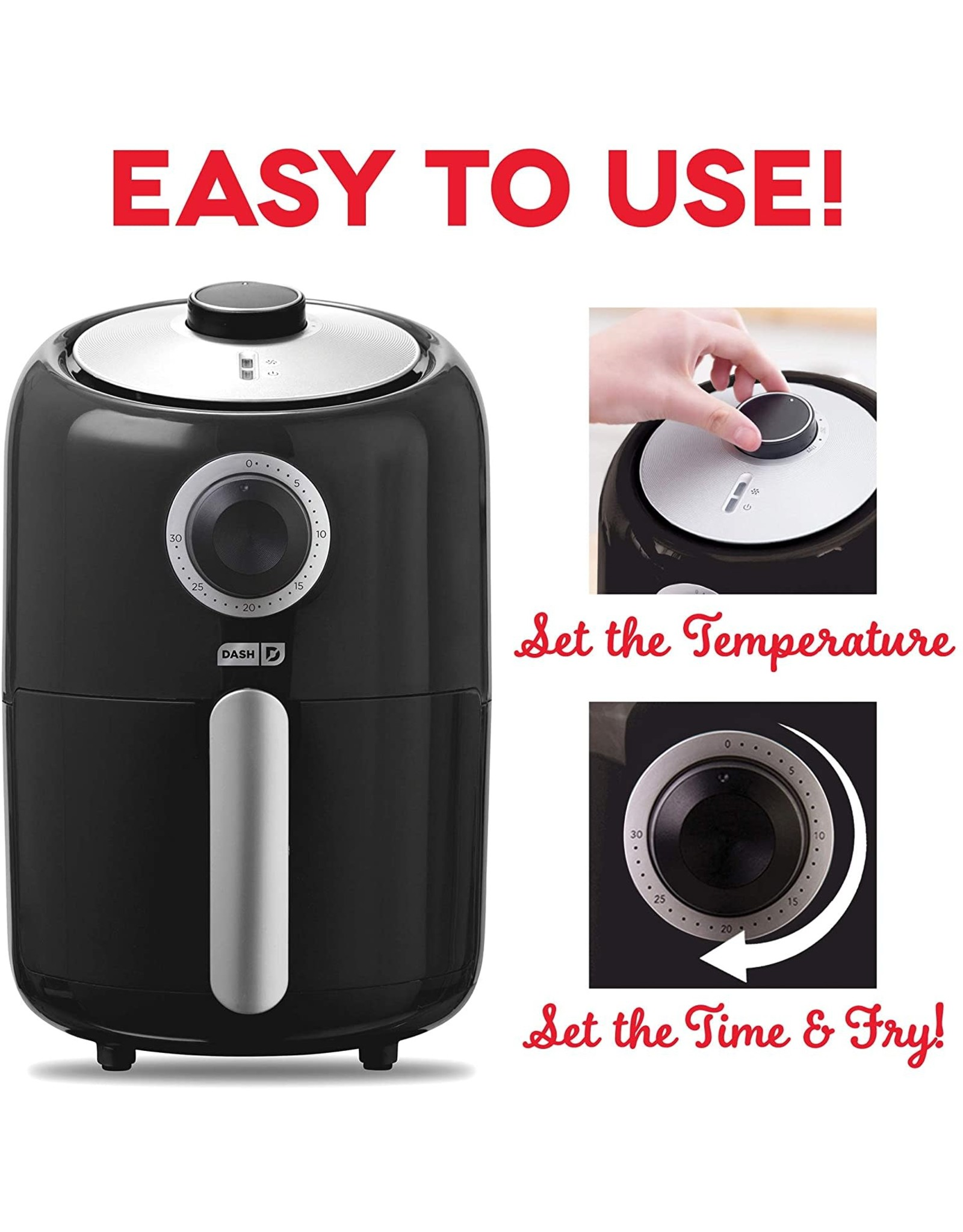 DASH Dash DCAF150GBBK02 Compact Air Fryer Oven Cooker with Temperature Control, Non Stick Fry Basket, Recipe Guide + Auto Shut off Feature, 2qt, Black