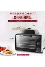 "Elite Gourmet Elite Gourmet Rotisserie, Bake, Grill, Broil, Roast, Toast, Keep Warm and Steam, 23L capacity fits a 12"" pizza, 6-Slice, Black"