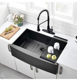 VOKIM 30 Inch Black Farmhouse Sink- VOKIM Apron Curved Front Kitchen Sink Single Bowl Gunmetal Matte Black 16 Gauge Stainless Steel Deep Kitchen Farm Sink …