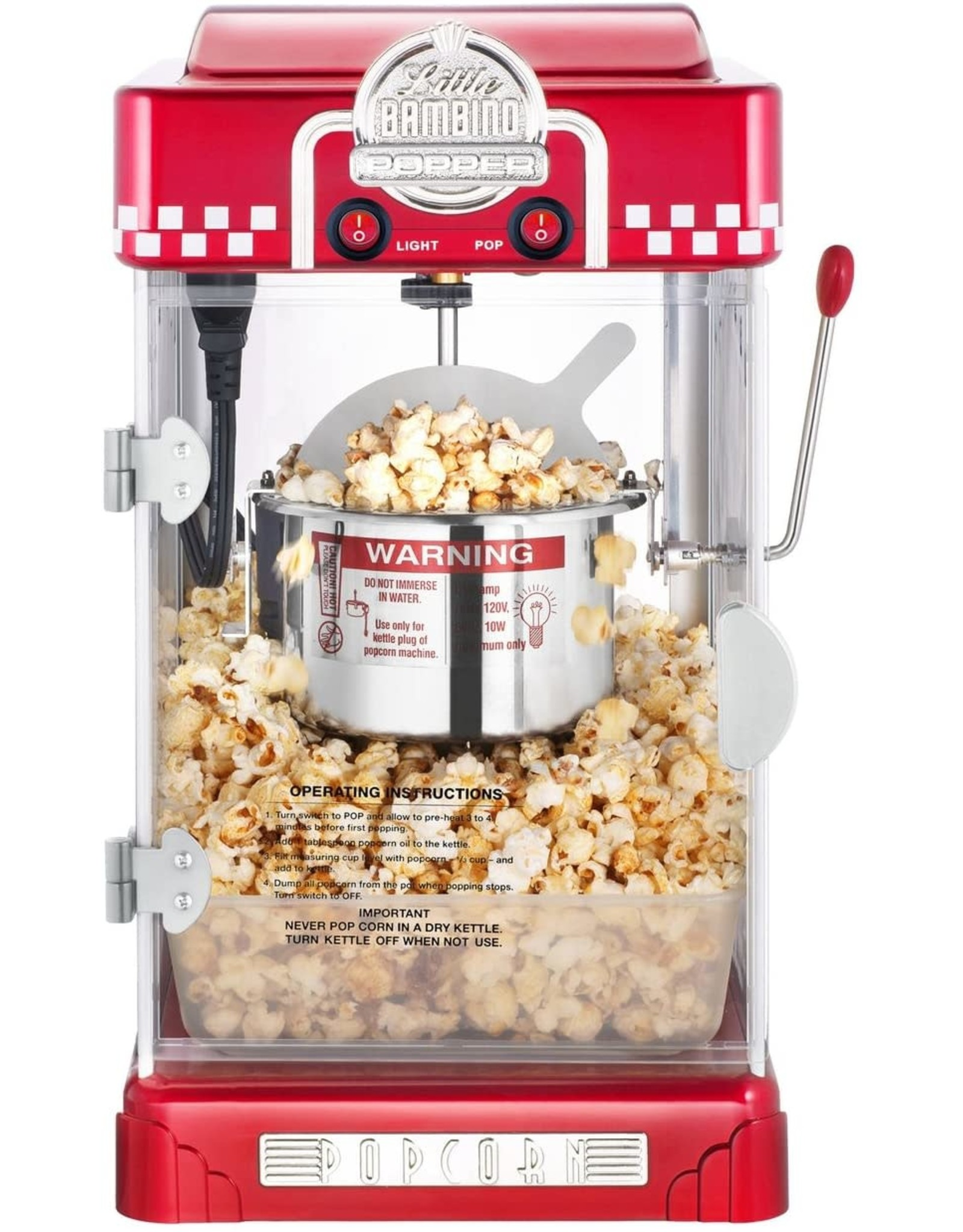 Great Northern Popcorn Company 6073 Great Northern Red Little Bambino Table Top Retro Machine Popcorn Popper, 2.5oz
