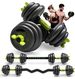 Aterastyle Adjustable Weight Dumbbell Curl Barbell Set 3-in-1 Dumbbell Set of 5/10/15/20/44/66lbs, Home Fitness Equipment for Adult Gym Workout Strength Training with Curl Rod Used as Barbell