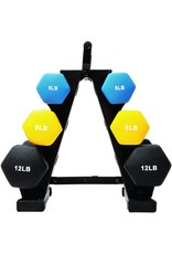 BalanceFrom BalanceFrom Colored Neoprene Coated Dumbbell Set with Stand, multi