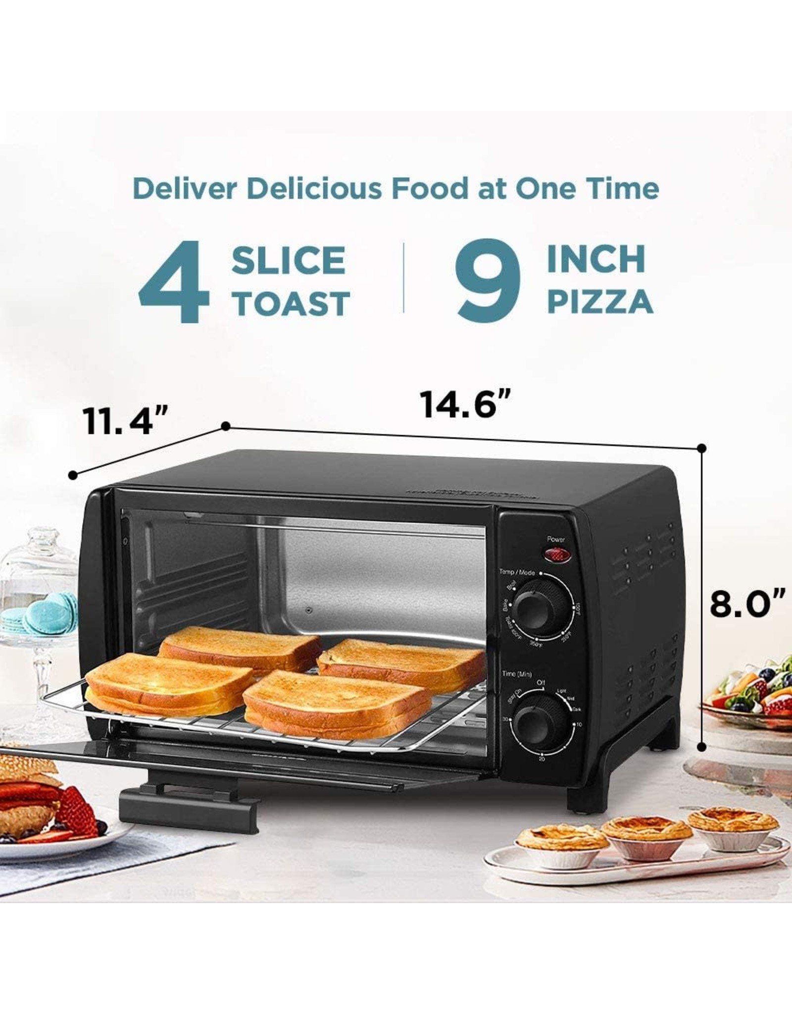COMFEE' COMFEE' Toaster Oven Countertop, 4-Slice, Compact Size, Easy to Control with Timer-Bake-Broil-Toast Setting, 1000W, Black (CFO-BB101)