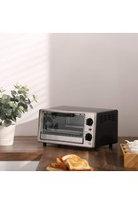 COMFEE' COMFEE Toaster Oven Countertop, 4-Slice, Compact Size, Easy to Control with Timer-Bake-Broil-Toast Setting, 1000W, Stainless Steel, CFO-BC10(SS)