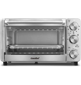 COMFEE' COMFEE' Toaster Oven, 4 Slice, 12L, Multi-function Stainless Steel Finish with Timer-Toast-Bake-Broil Settings, 1100W, Perfect for Countertop (CFO-BG12(SS))