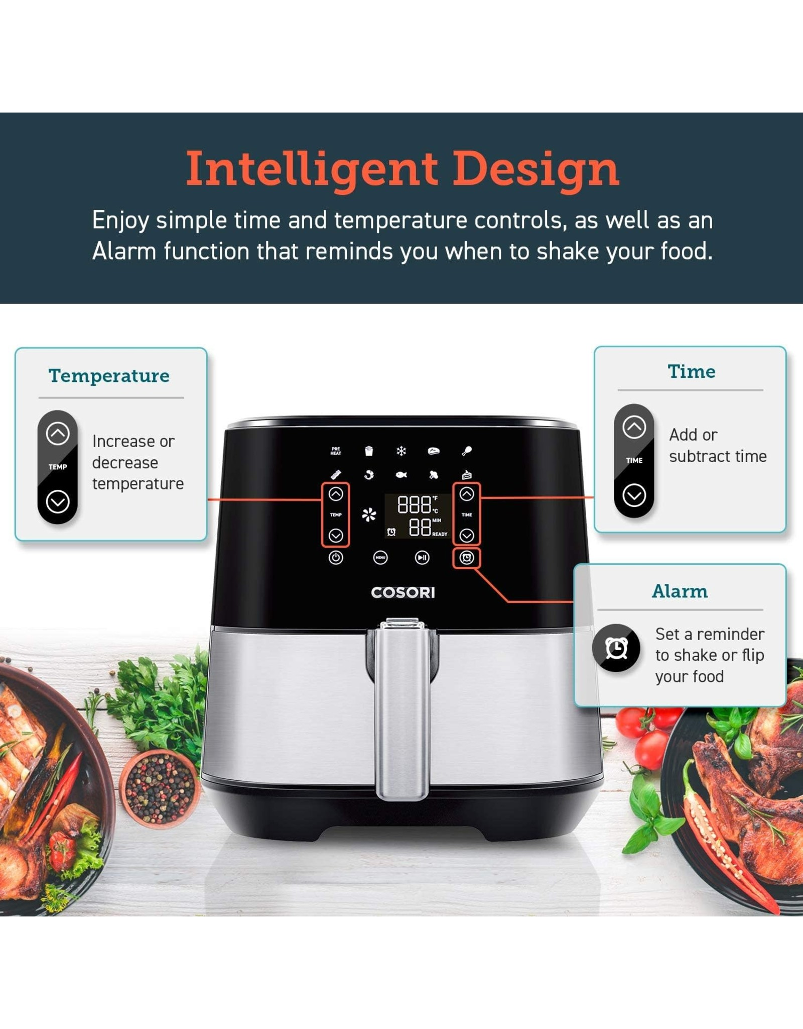 COSORI COSORI Air Fryer (100 Recipes, Rack & 5 Skewers,11 Functions) Large Oilless Oven Preheat/Alarm Reminder, 5.8QT, Digital-Stainless steel