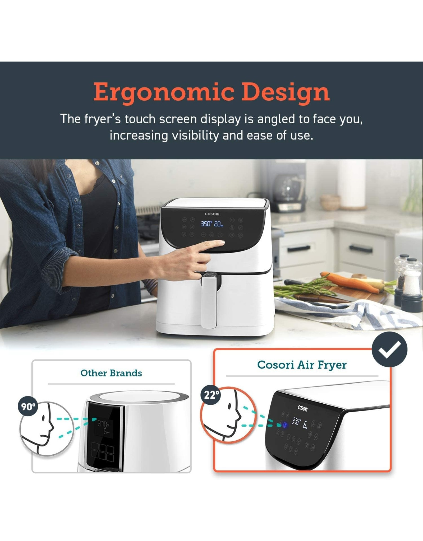 COSORI COSORI Air Fryer(100 Recipes, Rack & 4 Skewers) 1500W Electric Hot Oven Oilless Cooker, 11 Presets, Preheat & Shake Reminder, LED Touch Screen, Nonstick Basket, 3.7 QT, Digital-Creamy White