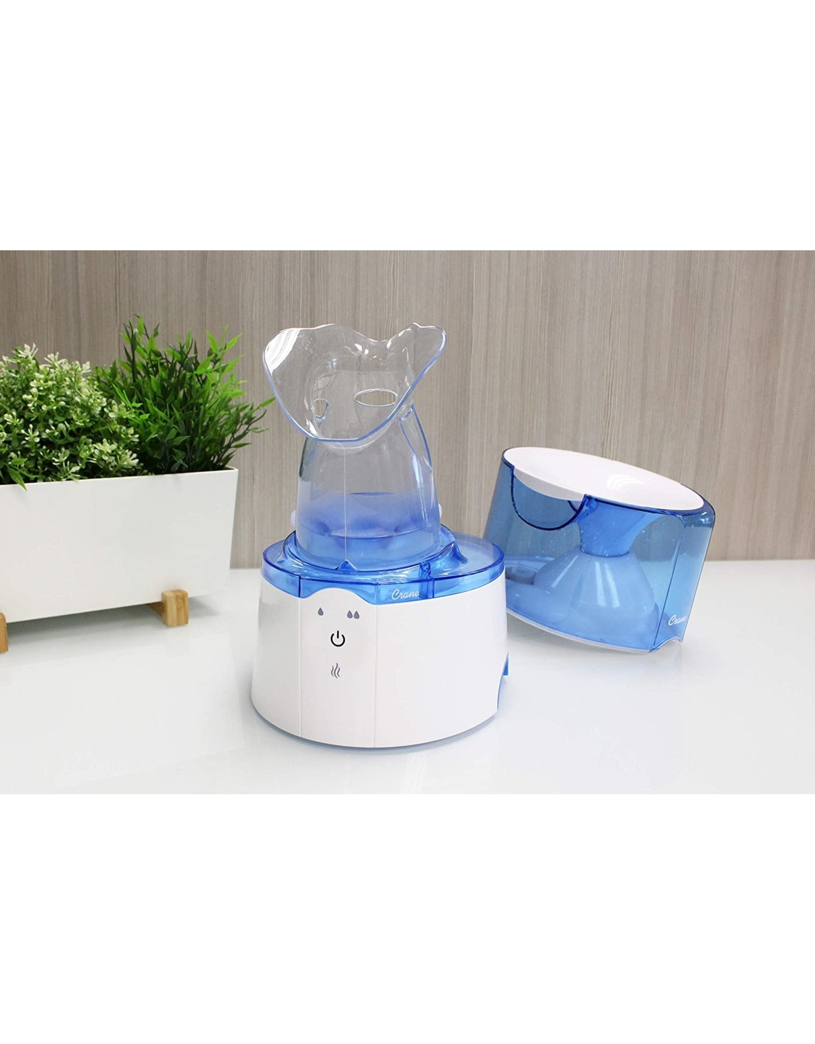 Crane Crane 2 in 1 Personal Steam Inhaler & Warm Mist Humidifier, 0.5 Gallon, Filter Free, Whisper Quite, Germ Free Mist, for Home Bedroom and Office, FSA Elidable, Blue & White