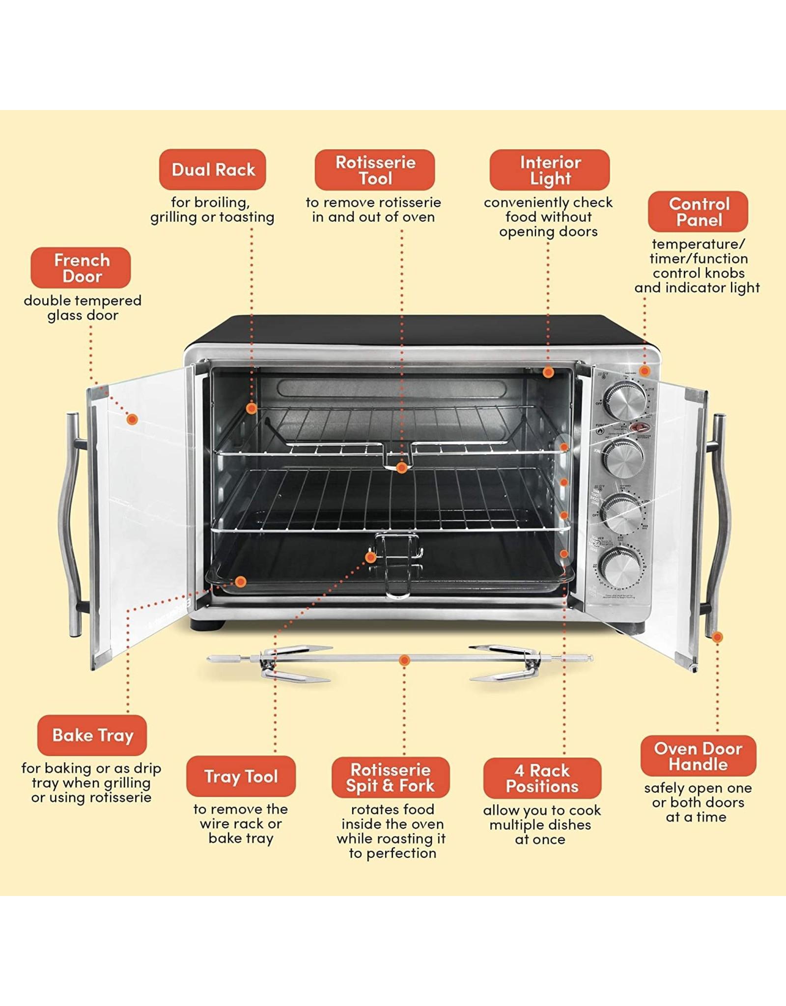 "Elite Gourmet Elite Gourmet ETO-4510M Double French Door Countertop Convection Toaster Oven, Bake Broil Toast Rotisserie Keep Warm 12""-14"" pizza 2 Racks, 18-Slice, 45 L, Stainless Steel & Black"