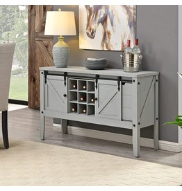 FirsTime & Co. FirsTime & Co. Gray Quincy Farmhouse Barn Door Buffet and Wine Console Table, American Designed, Gray, 47 x 15 x 30 inches