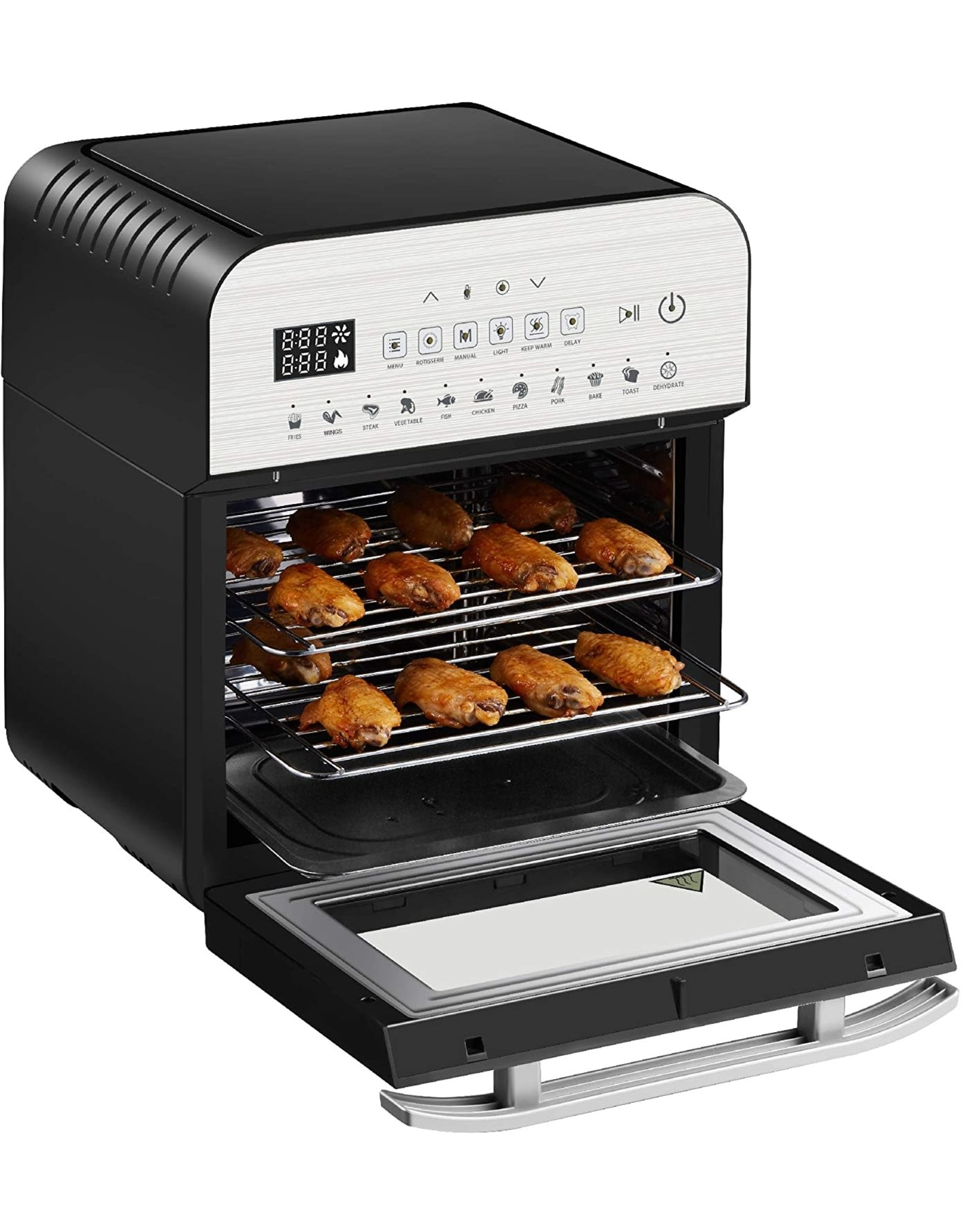 GoWISE USA GoWISE USA GW44804 Air Fryer Toaster Oven with Rotisserie + Dehydrator and 11 Accessories + 50 Recipes, Ultra (Silver/Black), 12.7 quart
