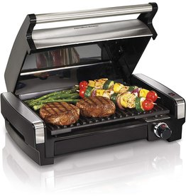 Hamilton Beach Hamilton Beach Electric Indoor Searing Grill Removable Easy-To-Clean Nonstick Plate, 6-Serving, Extra-Large Drip Tray, Stainless Steel (25360)