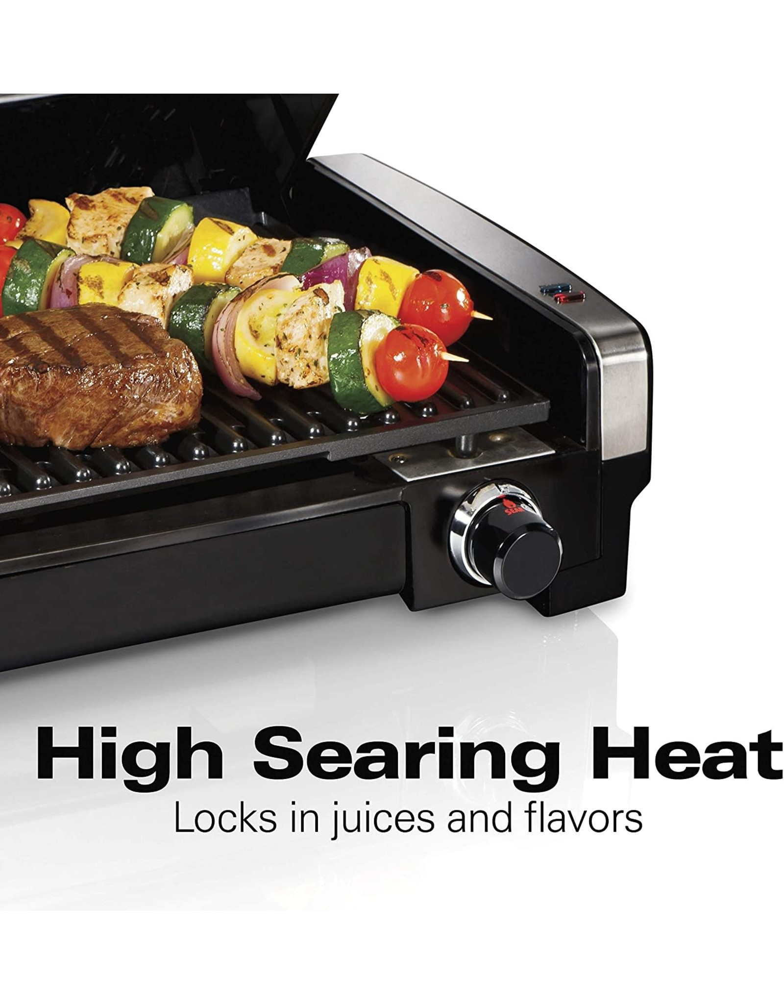 Hamilton Beach Hamilton Beach Electric Indoor Searing Grill with Viewing Window and Removable Easy-to-Clean Nonstick Plate, 6-Serving, Extra-Large Drip Tray, Stainless Steel (25361)