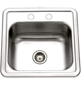 HOUZER Houzer 1515-6BS-1 Hospitality Series Topmount Stainless Steel 2-Holes Bar/Prep Sink