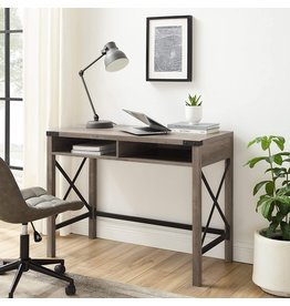 Walker Edison Walker Edison Callum Modern Farmhouse Metal X Writing Desk, 42 Inch, Grey Wash