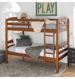 Walker Edison Walker Edison Della Classic Solid Wood Twin over Twin Bunk Bed, Twin over Twin, Cherry