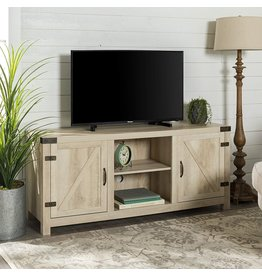 Walker Edison Walker Edison Georgetown Modern Farmhouse Double Barn Door TV Stand for TVs up to 65 Inches, 58 Inch, White Oak