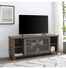 Walker Edison Walker Edison Oxford Modern Double Glass Door TV Console for TVs up to 65 Inches, 58 Inch, Grey Wash