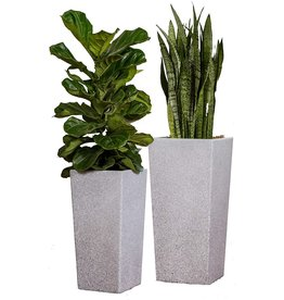 XBrand XBrand Set of 2 Different Sizes Modern Nested Tall Square Concrete Planter, 29 Inch & 24 Inch, Grey