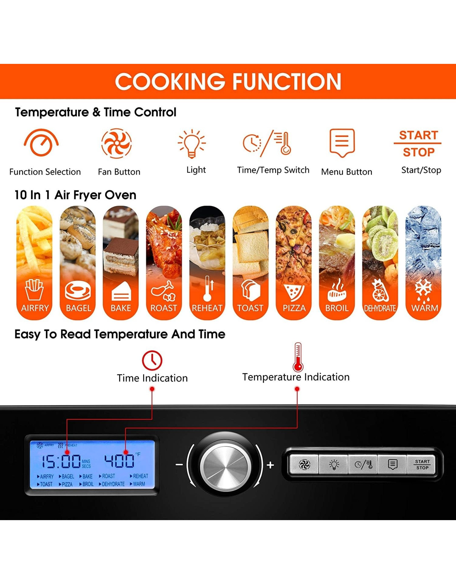 KPX KPX Air Fryer Toaster Oven,20 Quart 10-in-1 Convection Oven Combo, Roaster, Broiler, Rotisserie, Dehydrator, Pizza Oven , 7 Accessories with Recipe, LED Display & Control Dial, 1500W, UL Listed