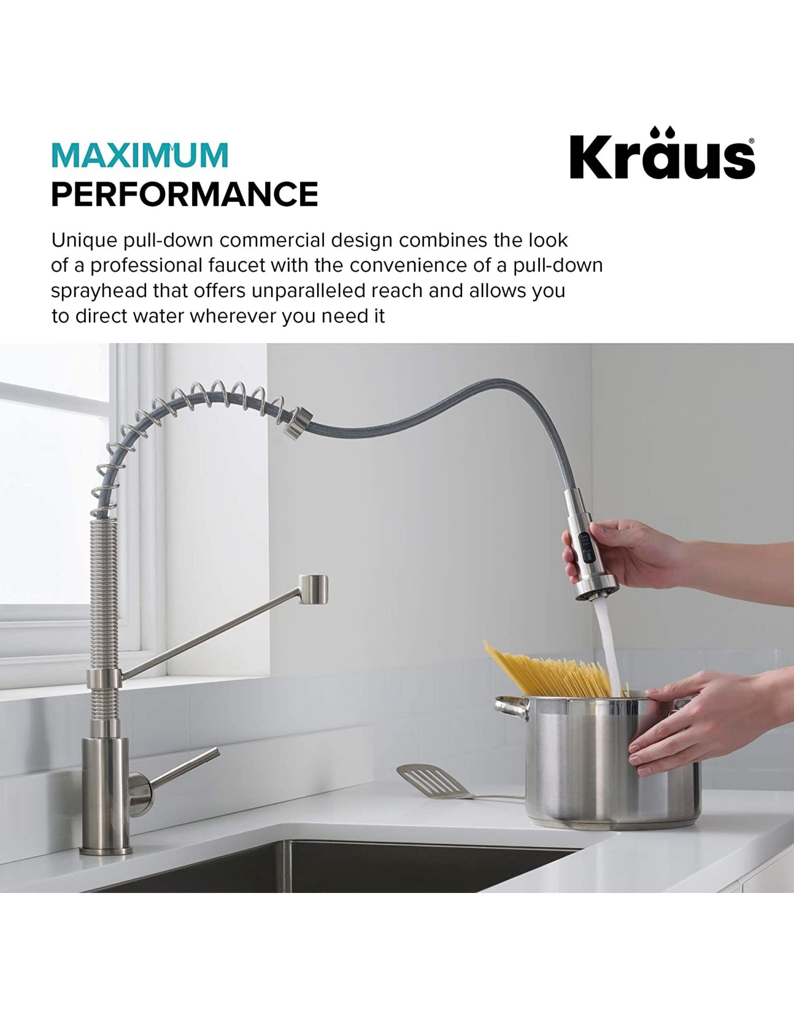 Kraus Kraus KPF-1610MBSB Bolden 18-Inch Commercial Kitchen Faucet with Dual Function Pull-Down Sprayhead in all-Brite Finish, Matte Black/Black Stainless Steel
