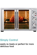 LUBY Luby Large Toaster Oven Countertop French Door Designed, 18 Slices, 14'' pizza, 20lb Turkey, Silver