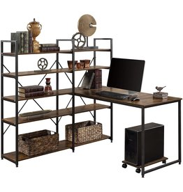 """Merax Merax 54"""" Large Computer 5-Tier Shelves, Office Study Table with Bookcase, Writing Hutch Desk, Brown"""