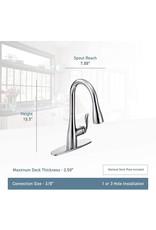 Moen Moen 7594BL Arbor One-Handle Pulldown Kitchen Faucet Featuring Power Boost and Reflex, Matte Black