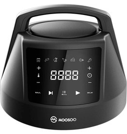 MOOSOO M MOOSOO 19 Quart Air Fryer Oven for Large Family, 8-in-1 Combo Convection Roaster with LED Display, 1500W & Large Glass Window Air Fryer Toaster Oven, Double Tube Uniform Heating, Super Durable Stainless Steel Body (Renewed)
