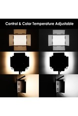 Neewer Neewer 2 Pieces Bi-color 660 LED Video Light and Stand Kit Includes:(2)3200-5600K CRI 96+ Dimmable Light with U Bracket and Barndoor and (2)75 inches Light Stand for Studio Photography, Video Shooting