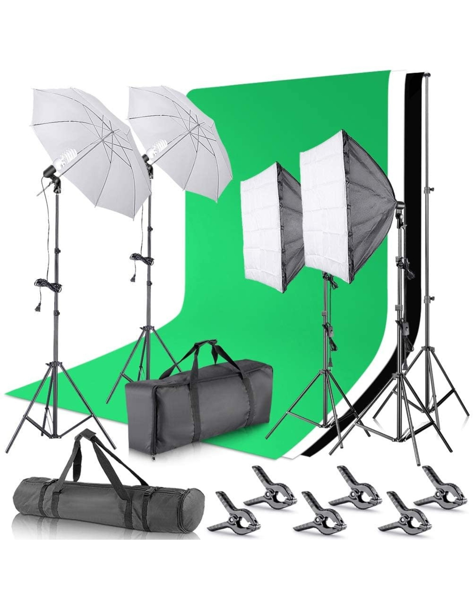 Neewer Neewer 2.6M x 3M/8.5ft x 10ft Background Support System and 800W 5500K Umbrellas Softbox Continuous Lighting Kit for Photo Studio Product,Portrait and Video Shoot Photography