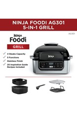 Ninja Ninja Foodi AG301 5-in-1 Indoor Electric Countertop Grill with 4-Quart Air Fryer, Roast, Bake, Dehydrate, and Cyclonic Grilling Technology