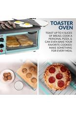 Nostalgia Nostalgia Retro 3-in-1 Family Size Electric Breakfast Station, Coffeemaker, Griddle, Toaster Oven, Aqua