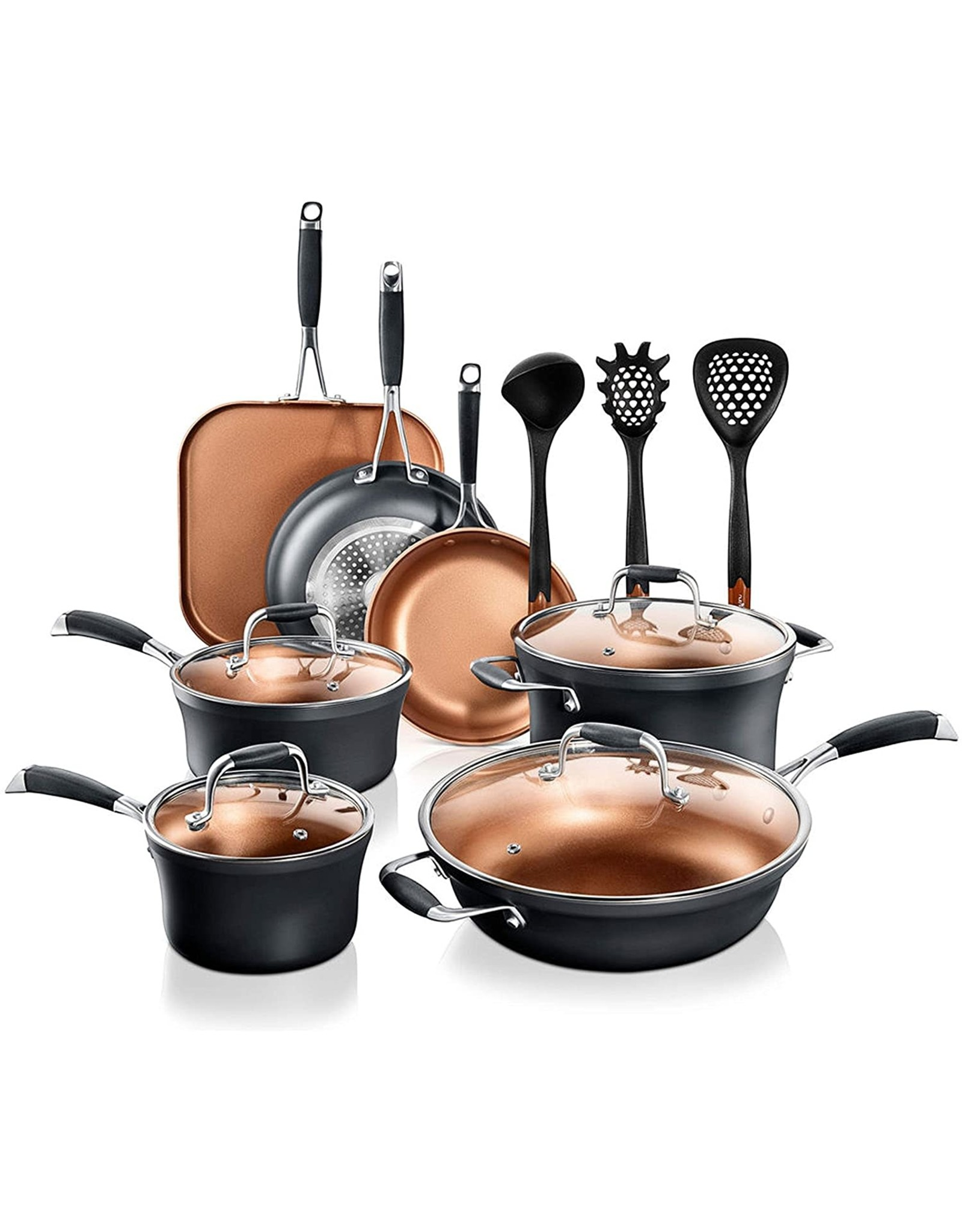 NutriChef NutriChef Stackable Pots and Pans Set – 14-pcs Luxurious Stackable Cookware Set – Sauce Pans Nonstick Set with Lids– Healthy Food-Grade Copper Non-Stick Ceramic Coating - PTFE, PFOA, and PFOS Free