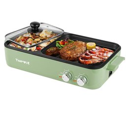 TOPWIT Topwit Electric Grill with Hot Pot, 2 in 1 Indoor Non-Stick Electric Hot Pot and Griddle for Korean BBQ, Steaks, Shabu Shabu and Noodles, Independent Dual Temperature Control, Fast Heating, Green