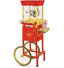 Nostalgia Nostalgia Concession CCP510 Vintage Professional Popcorn Cart-New 8-Ounce Kettle-53 Inches Tall-Red