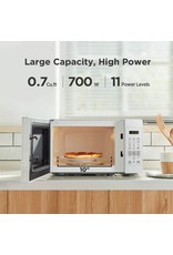 COMFEE' COMFEE' EM720CPL-PM Countertop Microwave Oven with Sound On/Off, ECO Mode and Easy One-Touch Buttons, 0.7 Cu Ft/700W, Pearl White