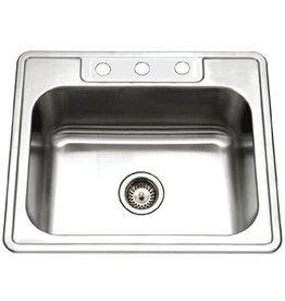 HOUZER Houzer 2522-9BS3-1 Glowtone Series Topmount Stainless Steel 3-hole Single Bowl Kitchen Sink, 9-Inch Deep