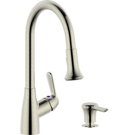Derengge Single Handle Pull-Down Kitchen Faucet (with soap Dispenser)