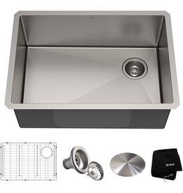 Kraus Kraus KHU110-27 Standart PRO 27-inch 16 Gauge Undermount Single Bowl Set (5 Item Bundle: Sink, Bottom Grid, Assembly, Drain Cap, Kitchen Towel), 27 Inch, Stainless Steel