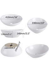 AWESON AWESON Porcelain Above Counter Vessel Sink, 16 Inch by 13 Inch, White Ceramic Bathroom Sink, Oval Canoe Shape