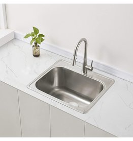 """ZUHNE ZUHNE 25 by 22 Drop-In Utility Laundry Kitchen Sink with Drain Strainer (12"""" Extra Deep Basin)"""