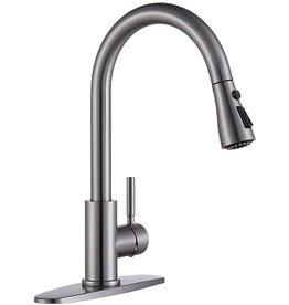 Wenore Home High Arc Single Handle Pull Out Stainless Steel Brushed Nickel Kitchen Faucet, Kitchen Sink Faucet with Pull Down Sprayer and Deck Plate, Faucets for Kitchen Sinks