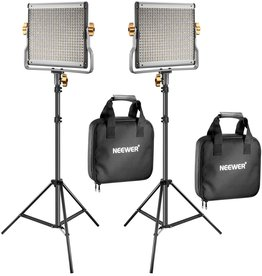 Neewer Neewer 2 Packs Dimmable Bi-Color 480 LED Video Light and Stand Lighting Kit Includes: 3200-5600K CRI 96+ LED Panel with U Bracket, 75 inches Light Stand for YouTube Studio Photography, Video Shooting