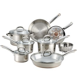 T-fal T-fal C836SD Ultimate Stainless Steel Copper Bottom 13 PC Cookware Set, Piece, Silver