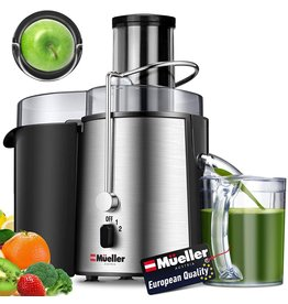 """Mueller Austria Mueller Austria Juicer Ultra Power, Easy Clean Extractor Press Centrifugal Juicing Machine, Wide 3"""" Feed Chute for Whole Fruit Vegetable, Anti-drip, High Quality, Large, Silver"""