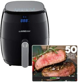 GoWISE USA GoWISE USA 5.0-Quart 1500-Watt Digital Air Fryer with 8 Presets, GW22821-S + 50 Recipes (Black)